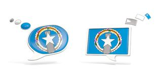 Two chat icons with flag of northern mariana islands Stock Photos
