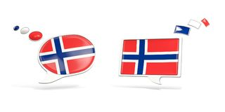 Two chat icons with flag of norway. Round and square speech bubbles. 3D illustration Stock Images