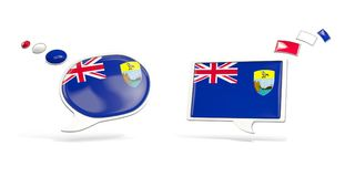 Two chat icons with flag of saint helena Stock Images