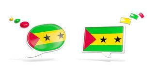 Two chat icons with flag of sao tome and principe. Round and square speech bubbles. 3D illustration Royalty Free Stock Image