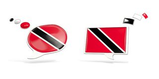 Two chat icons with flag of trinidad and tobago. Round and square speech bubbles. 3D illustration Royalty Free Stock Photo