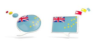 Two chat icons with flag of tuvalu. Round and square speech bubbles. 3D illustration Royalty Free Stock Photos