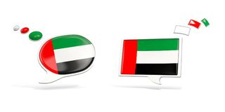 Two chat icons with flag of united arab emirates. Round and square speech bubbles. 3D illustration Royalty Free Stock Images