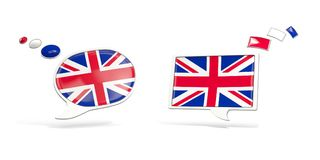 Two chat icons with flag of united kingdom Royalty Free Stock Photo