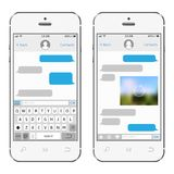 Two chat screens templates on white smartphones. Mobile app for talking. Isolated vector illustration Stock Image