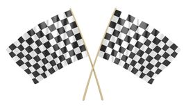 Two Checkered Flag. This is a 3d rendered computer generated image. Isolated on white Royalty Free Stock Images