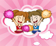Two cheerdancers with pink and orange pompoms. Illustration of the two cheerdancers with pink and orange pompoms Stock Photos