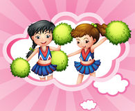 Two cheerers inside a cloud. Illustration of the two cheerers inside a cloud Royalty Free Stock Images