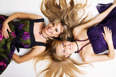 Two cheerful beautiful girls Stock Image