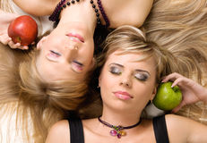Two cheerful beautiful girls Stock Images