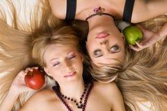 Two cheerful beautiful girls Royalty Free Stock Photo