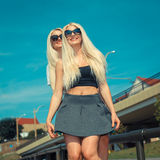 Two cheerful blonde girlfriends Royalty Free Stock Images