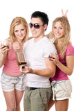 Two cheerful blonde woman and young man Royalty Free Stock Photography