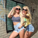 Two cheerful blondes Stock Photos