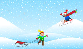 Two cheerful boy sledding mountain Royalty Free Stock Photography