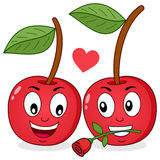Two Cheerful Cartoon Cherries in Love Stock Photos