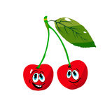 Two cheerful cherries on a branch, cartoon on a white background. Vector Stock Photos
