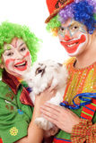 Two cheerful clown with a white rabbit. Isolated Royalty Free Stock Photography