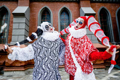 Two cheerful clowns Stock Images