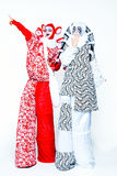 Two cheerful clowns. Two cheerful female clowns dressed in black and white cloth on a white background Stock Images