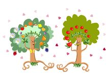 Two cheerful fairy-tale dancing trees in the form of stylized man and woman on white background with hearts. Wedding invitation. Save the date. Greeting card vector illustration