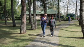 Two cheerful female friends walking in the park in the summer.  stock video footage