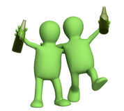 Two cheerful friends with bottles of beer. Object over white Royalty Free Stock Photos