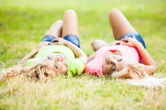 Two cheerful Friends in the park Stock Photo