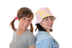 Two cheerful girl-friends Stock Photos