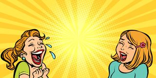 Two cheerful girlfriend girls laugh. Comic cartoons pop art retro vector illustration kitsch drawing stock illustration