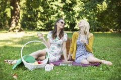 Two cheerful girlfriends enjoying the spare time in park stock image