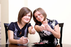 Two cheerful girls. Royalty Free Stock Photography
