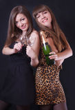 Two cheerful girls with champagne and glasses Stock Image