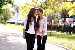Two cheerful girls twins. In the street Royalty Free Stock Photos