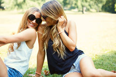 Two cheerful girls twins. In the park Royalty Free Stock Image