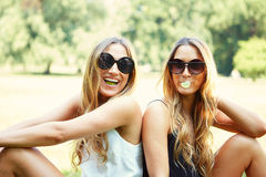 Two cheerful girls twins. In the park Royalty Free Stock Photo