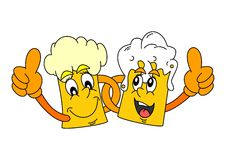 Two cheerful glass of beer Royalty Free Stock Photos