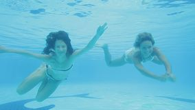 Two cheerful and happy girls in white bikinis swim underwater and entertain. Smiling blonde and brunette girls in white bikinis frolick and enjoy their lives stock video footage