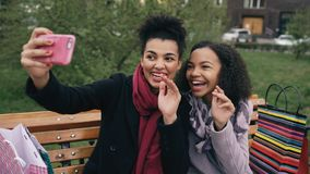 Two cheerful mixed race woman with shopping bags talking at video call with smartpone. Young girls sitting on bench have royalty free stock photos
