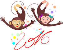 Two cheerful monkeys with a playful mood and with the inscriptio royalty free stock image