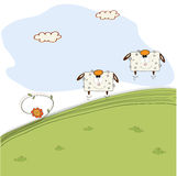 Two cheerful sheep jumping on grass Stock Photo