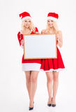 Two cheerful sisters twins posing with blank board Royalty Free Stock Image