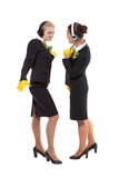 Two cheerful stewardess Stock Photo