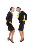 Two cheerful stewardess Royalty Free Stock Photos