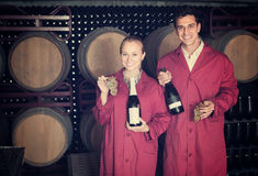 Two cheerful winery employees in aging section in cellar Stock Images