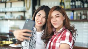 Two cheerful woman taking selfie on smartphone. Two cheerful woman taking selfie on a smartphone stock video footage