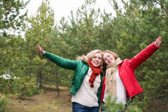 Two cheerful women on the nature Stock Photo