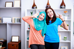 Two cheerful women posing in front of camera Stock Images