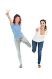 Two cheerful young female friends with hand gestures Stock Image
