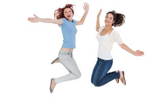 Two cheerful young female friends jumping Royalty Free Stock Image